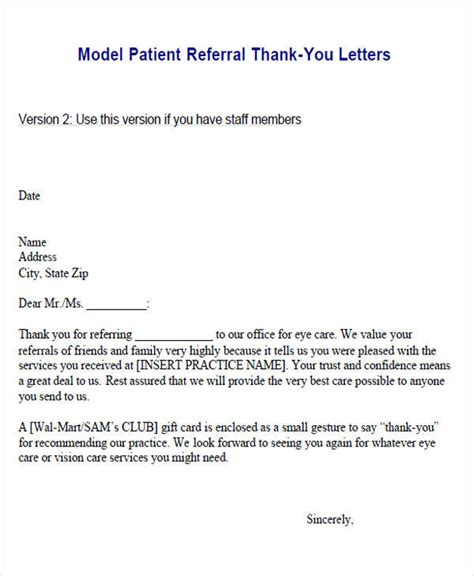 Thank You Letter Referral physician referral thank you letter template docoments