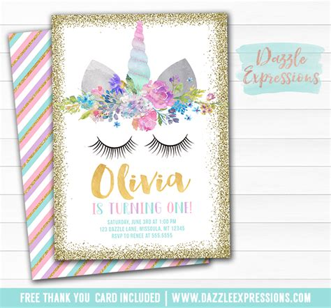 Free Printable Birthday Card Unicorn | printable unicorn face and gold glitter birthday