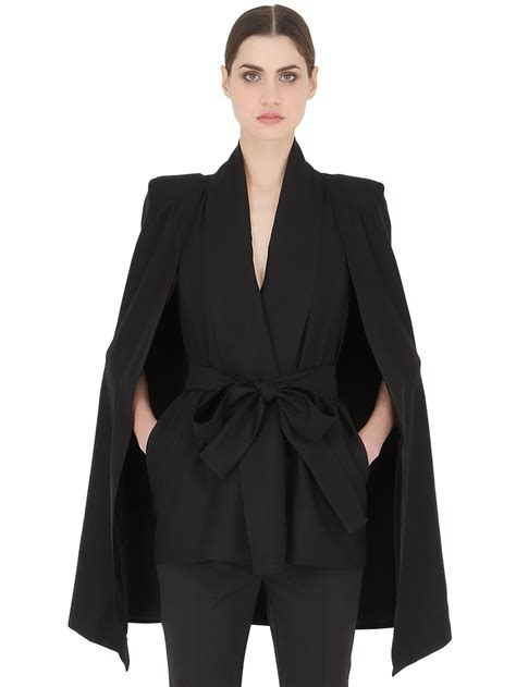 Cape Blazer Jacket Jaket cameo rider viscose cape jacket in black lyst