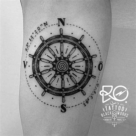 helm tattoo line dot work compass helm sweden 2014
