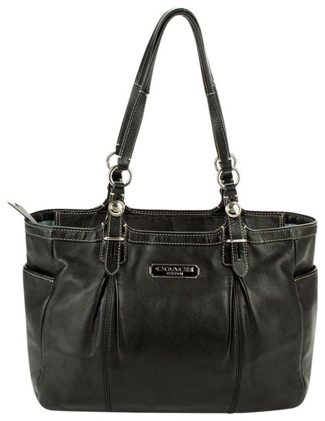 Coach Gallery Leather Laced Purse by Coach F16565 Gallery Tote Handbag Purse Black Cowhide