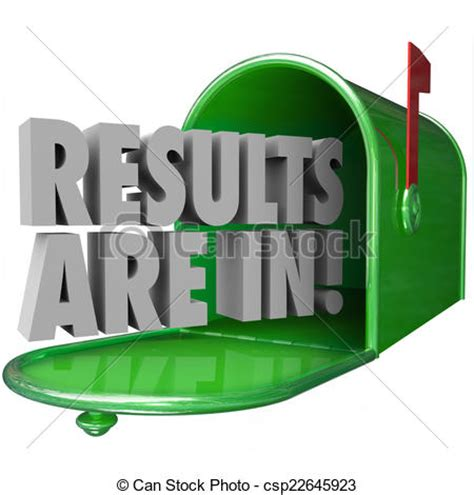 Clip Art of Results Are In Green Metal Mailbox 3d Words