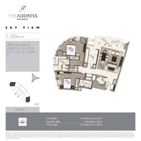 floor plans the address sky view towers downtown dubai