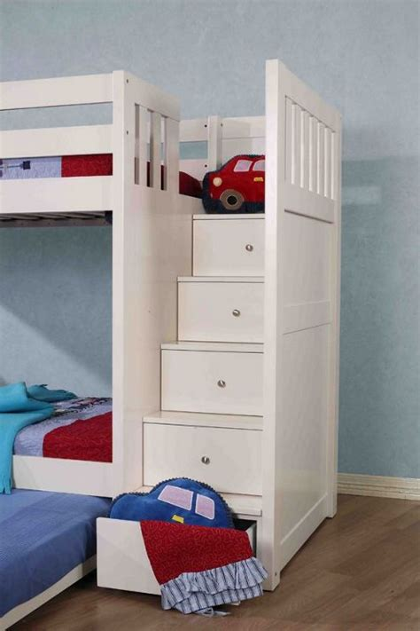 Bunk Bed With Storage Stairs Buy Neutron Bunk Bed With Stair Storage White From Our Storage Beds Range Tesco