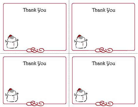 template for a thank you card 5 best images of free printables thank you card template