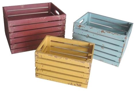 colorful distressed wood crates set of 3