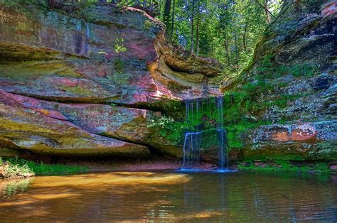 waterfall nature tree pond wisconsin rock hd wallpaper