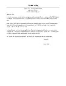 brilliant cover letter exles of housekeeper position