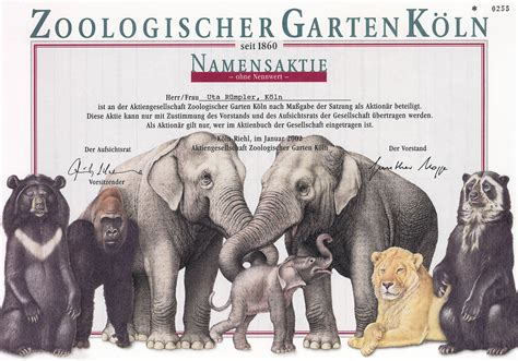 Zoologischer Garten Berlin Aktie by Zoologischer Garten In K 246 Ln Namensaktie 2002
