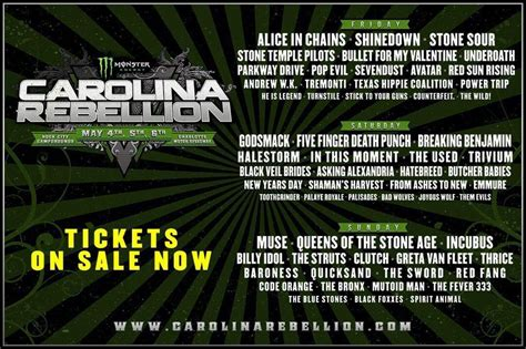 is beautiful reveals 2018 lineup get some magazine carolina rebellion 2018 in chains shinedown