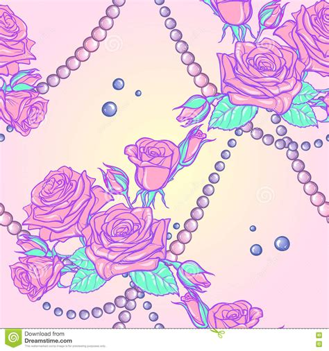 pattern pastel goth pastel goth rose bouquets and pearls seamless pattern