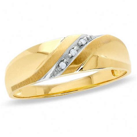 s accent slant wedding band in 10k gold