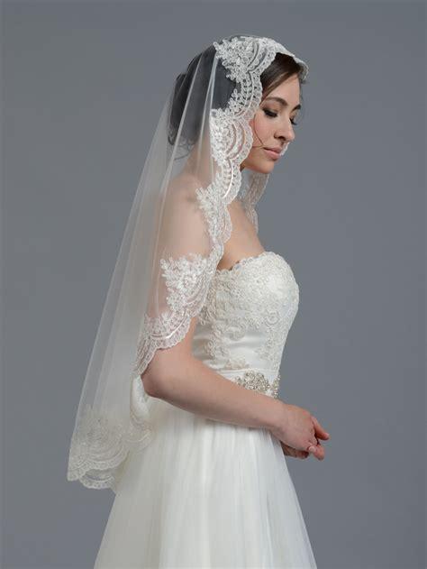 Cape Home Designs by Mantilla Bridal Wedding Veil Elbow Fingertip V030