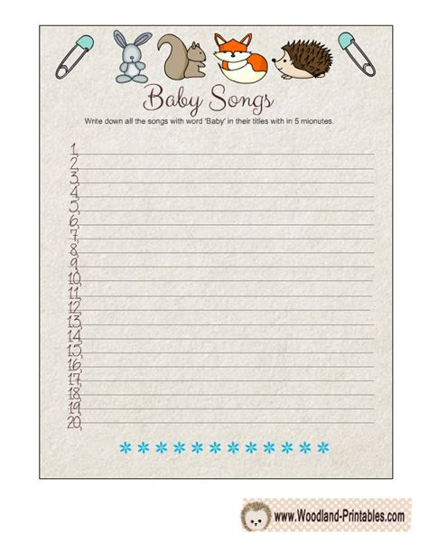 Baby Shower Songs With The Word Baby by 8 Free Printable Woodland Baby Shower