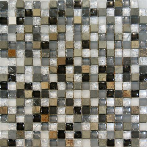 Glass Mosaic Tile Kitchen Backsplash 1sf Slate Crackle Glass White Gray Beige Mosaic