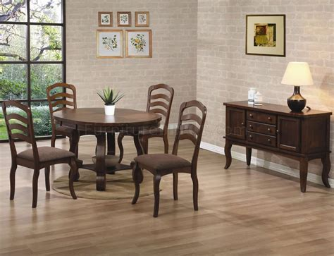 medium brown oak finish classic dining table woptions