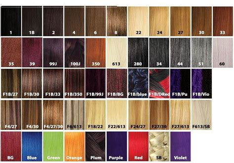 hair color chart for braids x pression ultra braid
