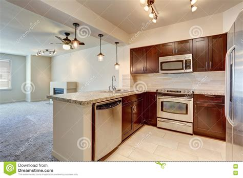living room appliances modern kitchen interior with mahogany cabinets stock