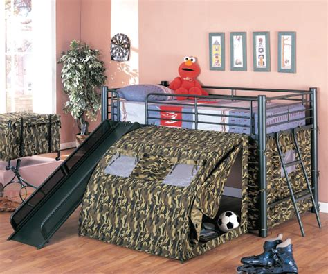 Camo Bunk Beds Camouflage Loft Metal Bed With Decorate Tent