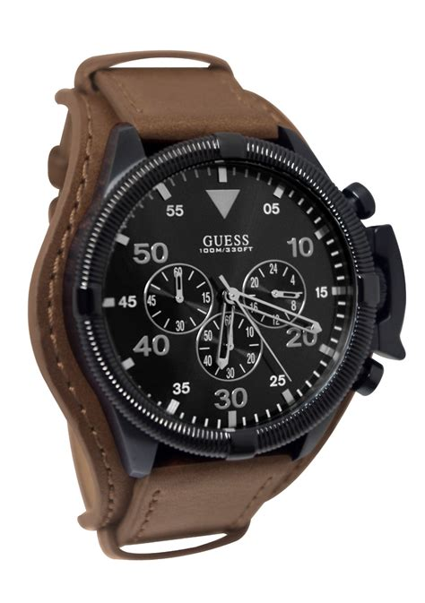 Guess Romawi Date Leather Brown guess watches brown leather