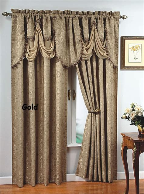 long curtain fringe luxury portofino window curtain jacquard panel 84 quot long