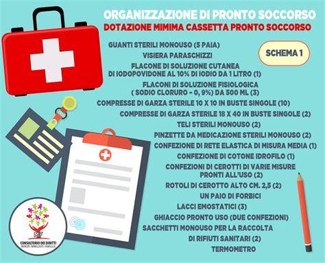 dotazione cassetta pronto soccorso consultorio dei diritti mif tutela della salute nei posti