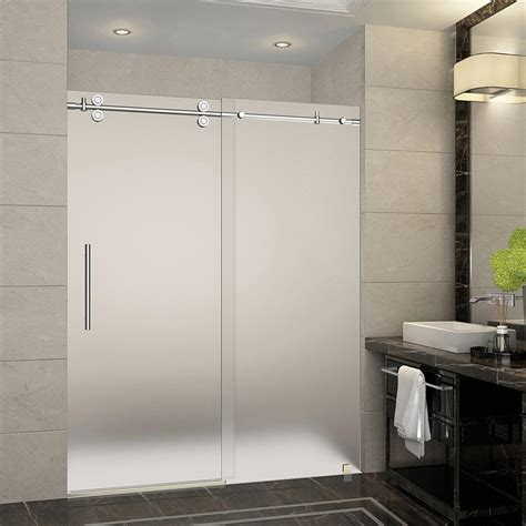 Frosted Glass Sliding Shower Doors Aston Langham 56 In To 60 In X 75 In Completely