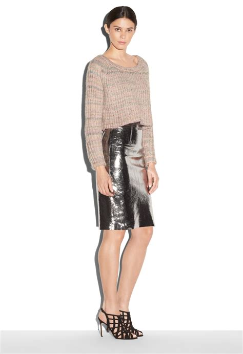 milly leather pencil skirt in metallic lyst