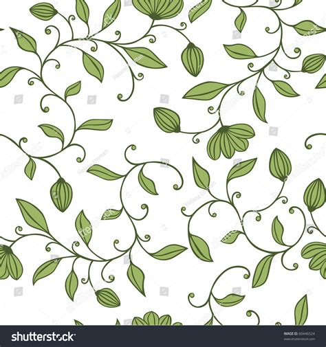 flower pattern on white background seamless green floral pattern on white stock vector
