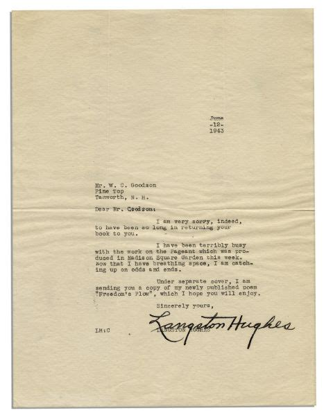 Langston Acceptance Letter Lot Detail Langston Hughes Typed Letter Signed My Newly Published Poem Freedom S Plow