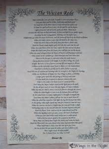 Alternative Valentines Gifts the wiccan rede full version a4 parchment poster