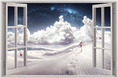 film fantasy in 3d huge 3d window view fantasy clouds wall sticker film mural