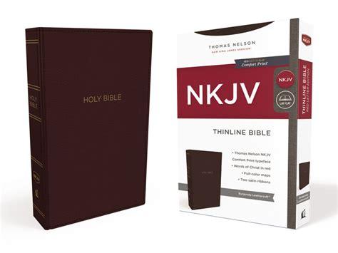 nkjv thinline bible large print imitation leather burgundy letter edition comfort print books nkjv thinline bible imitation leather burgundy of 24