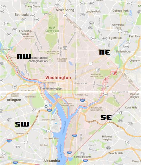 washington dc map nw ne sw se how are the names and number assigned in washington dc