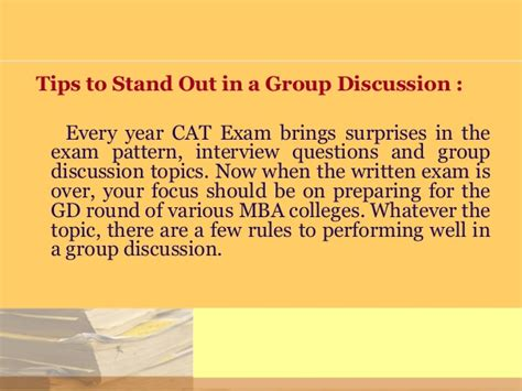 Gd Tips For Mba by Cat Gd Preparation Tips