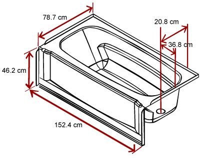 bathtub length width and depth build
