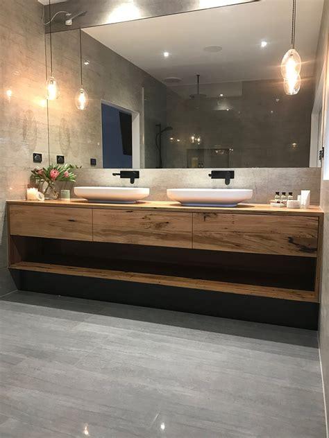 floating timber vanity master bathroom