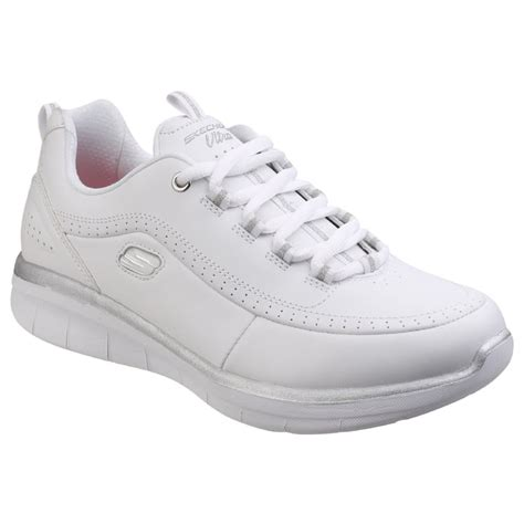 Skechers Synergy 2 0 skechers womens white silver synergy 2 0 lace up shoes sk12363