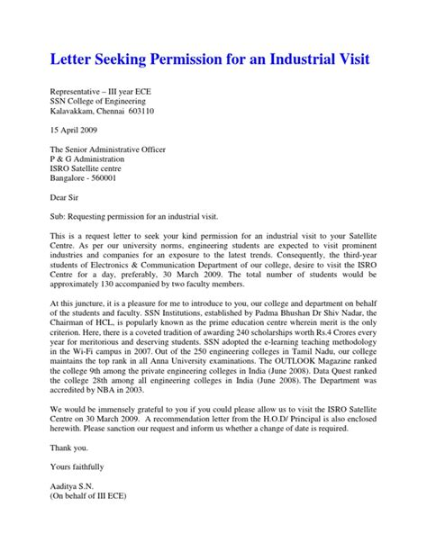 Permission Letter Sle For Industrial Visit Industrial Visit Letter