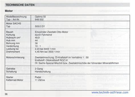 Sachs Motor Technische Daten by Sachs Optima 50 Technische Daten Motor 505 2 Dy