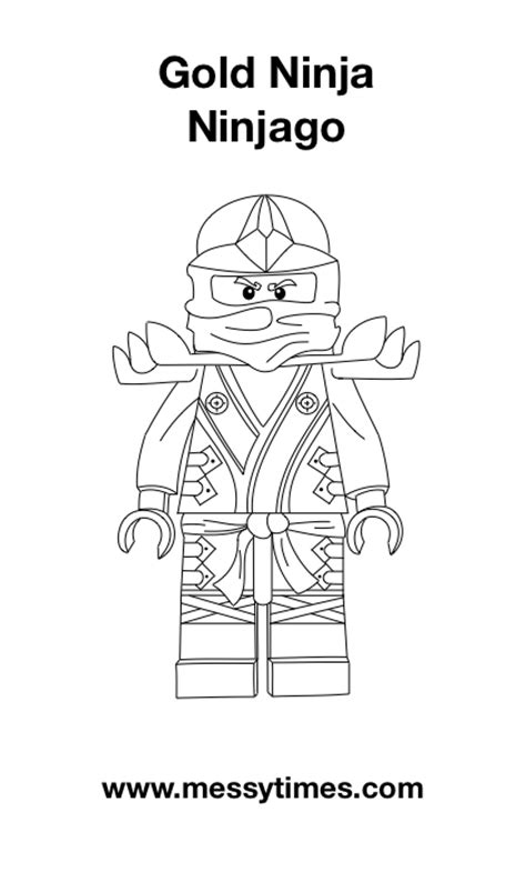Lego Ninjago Coloring Pages Of The Golden Ninja | lego ninjago gold ninja colouring in messy times
