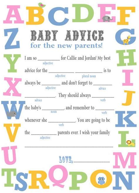 baby shower mad libs printable baby shower mad libs diy printable