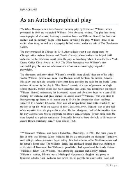 Tennessee Williams Essay by Critical Analysis Of The Opening Of The Glass Menagerie By Tennessee Williams