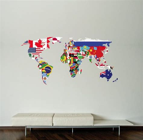 wall stickers map world map decal flags world map wall decal wall sticker