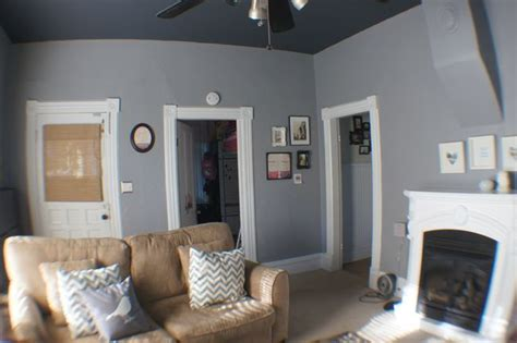 we used glidden s granite gray mixed in behr s paint for the wall and for the ceiling i believe
