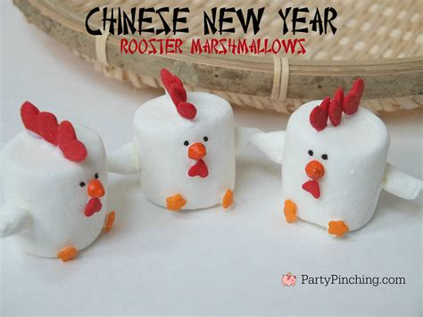 easy new year goodies lunar new year rooster marshmallows easy dessert