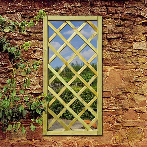 Wood Framed Lattice Window Garden Mirror Garden Wall Mirrors