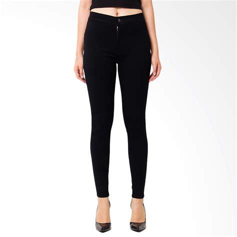 Celana Punny Highwaist Black jual nuber petunia high waist fit stretch celana panjang wanita black