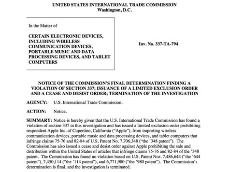 itc finds apple infringed on samsung patent issues cease