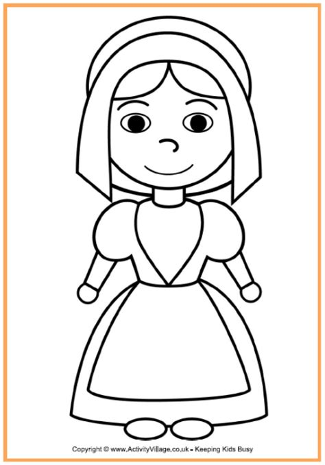 coloring page of a pilgrim girl early play templates pilgrim and native american